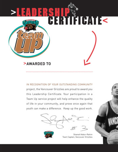 Vancouver Grizzlies Shareef Leaders Certificate