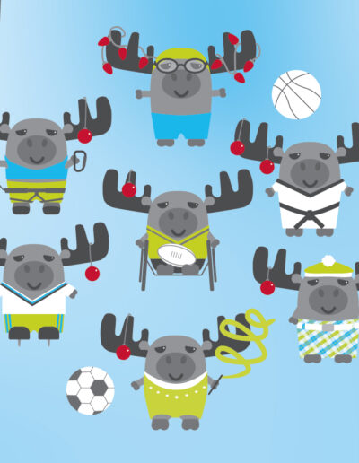 Holiday Christmas Cards Sport Animal Illustration-01