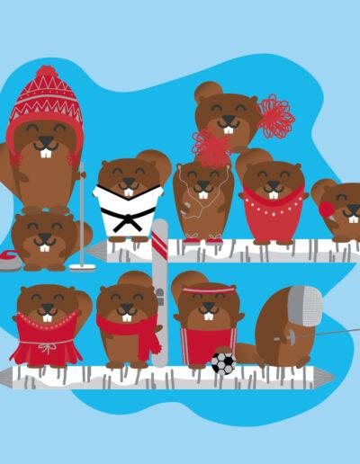Holiday Christmas Cards Sport Animal Illustration-02