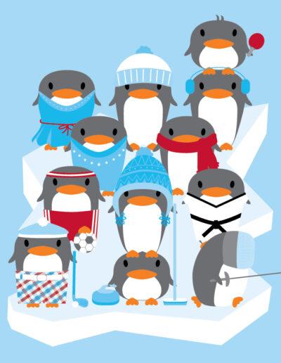 Holiday Christmas Cards Sport Animal Illustration-03