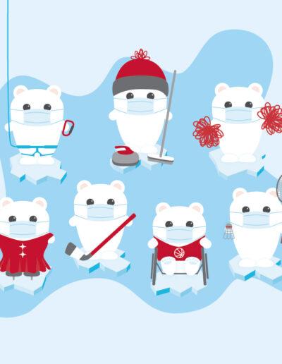 Holiday Christmas Cards Sport Animal Illustration-04