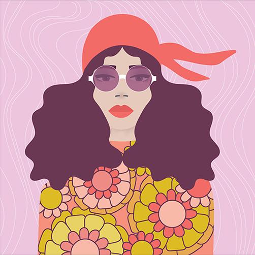 Vector-Portrait-70s-vibe-Retro-headscarf-Sunglasses