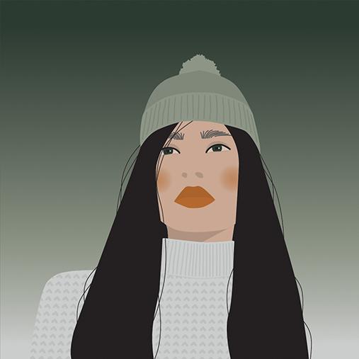 Vector-Portrait-Asian-Long-Hair