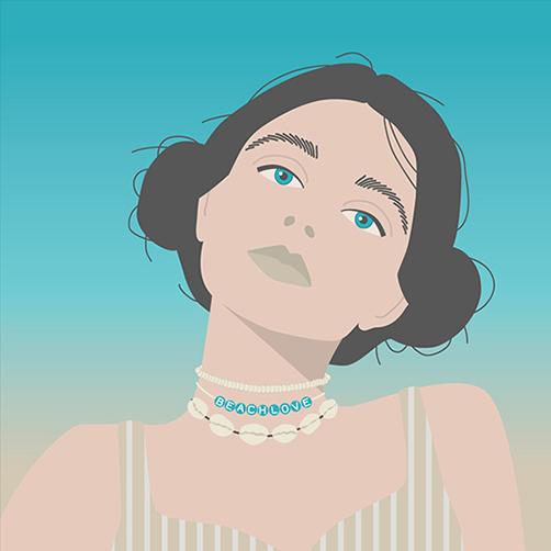 Vector-Portrait-Double-Buns-beach-love