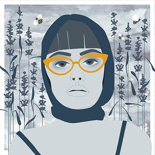 Vector-Portrait-Glasses-Headscarf-HoneyBee