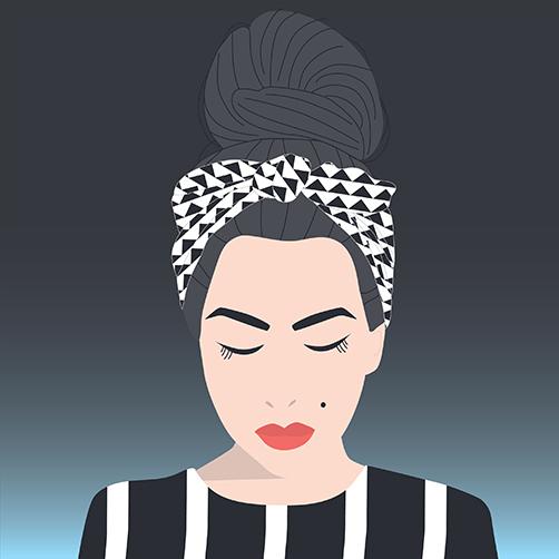 Vector-Portrait-Messy-Bun-Headscarf