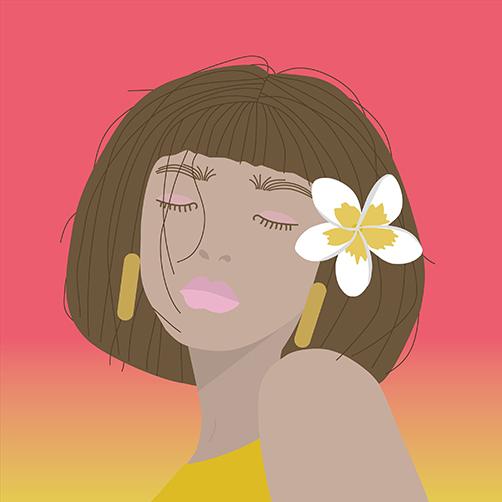 Vector Portrait Tropical flower Hair bliss