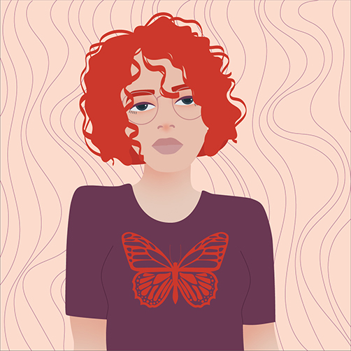 Vector-Portrait-red-Curlyhair-Butterfly