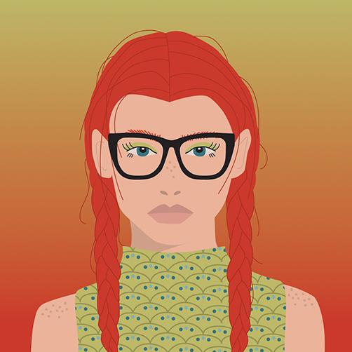 Vector-Portrait-red-braids-pleats