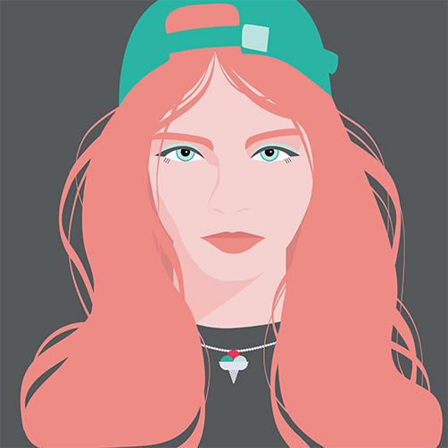 Vector Portrait red hair ice cream cap copy