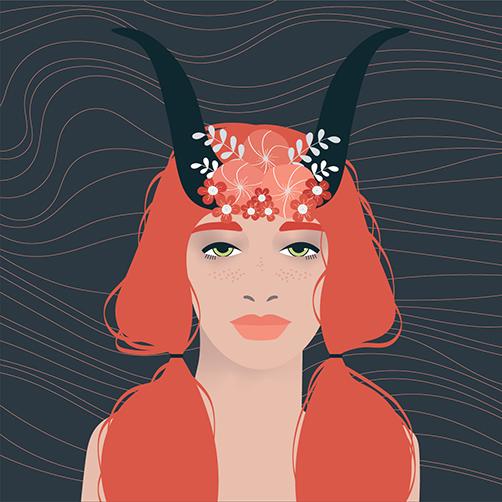 Vector Portrait taurus starsign redhair freckles